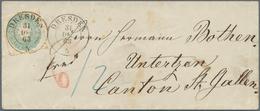 Sachsen - Marken Und Briefe: 1863 Wappen 5 Ngr. Grauultramarin Auf Couvert Mit K2 DRESDEN 31 DEC 63 - Sachsen