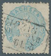"""Sachsen - Marken Und Briefe: 1863,  5 Ngr Blaugrau Sauber Entwertet Mit Ra3 """"LEIPZIG...DRESD:BAHNH."""" - Sachsen"""