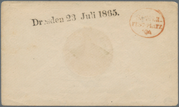"""Sachsen - Ortsstempel: """"Dresden 23 Juli 1865"""" Schwarzer L1 Und Roter Ovalstpl. """"SÄNGER-FESTPLATZ"""" Au - Sachsen"""