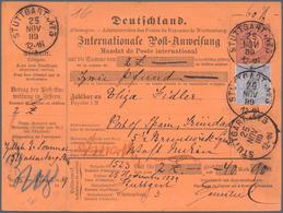 """Württemberg - Postanweisungen: 1889 Postanweisungs-GA 40 Pf. Von """"STUTTGART 24 NOV 89"""" Nach Port Of - Wurttemberg"""