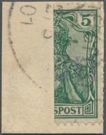 """Deutsches Reich - Germania: 1901, """"Vineta Provisorium"""" Halbierte 5 Pf Germania Reichspost-Ausgabe Mi - Germany"""