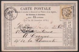 France - N° 55 Sur Carte Postale Obl. 1875 GC 842 Chalon Sur Saone Pour Cognac - 1849-1876: Classic Period