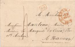 382/27 - Lettre Précurseur CHIMAY 1837 Vers NAMUR -  Cachet SR Rouge - Taxation 4 Décimes - 1830-1849 (Belgique Indépendante)
