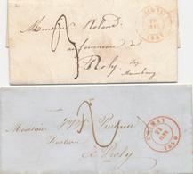 383/27 - 2 X Lettre Précurseur CHIMAY Vers ROLY Via MARIEMBOURG - Taxation 3 Décimes En 1847 Et 2 Décimes En 1850 - 1830-1849 (Belgique Indépendante)
