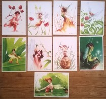 Lot De 9 Cartes Postales FAIRIES Fées Elfes / Illustrateur David ROUSSEL - Contes, Fables & Légendes