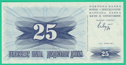 25 Dinar - Bosnie Herzegovine - 1992 - N° BK62035711 -  Neuf - - Bosnia Y Herzegovina