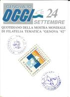 "Macedonia 1992 - ""Genova '92"" - Italy ""World Tematic Stamp Expo"",two Special Postmarks Motive Ships And Italy Label.RARE - Macedonia"