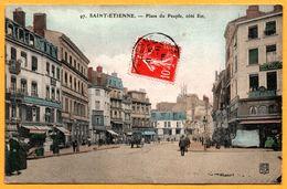 St Saint Etienne - Place Du Peuple Côté Est - Solelhac - Pharmacie - Animée - SL - 1908 - Colorisée - Saint Etienne