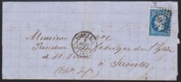 France - LaC N° 14 Obl. 1860 Losange PC 441 Pour Saintes - Postmark Collection (Covers)