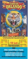 Circus Orlando - Iasi Romania - Cirque Zirkus - Voucher Ticket - Zebra Lion Tiger Clown Fakir Acrobatics, 208/100 Mm - Biglietti D'ingresso
