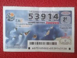 SPAIN ESPAGNE DÉCIMO DE LOTERÍA NACIONAL NATIONAL LOTTERY ENCUENTRO MUNDIAL EN LAS ESTRELLAS CIELO HEAVEN STARS CANARIAS - Lottery Tickets