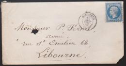 France - Enveloppe N° 14 Obl. 1854 PC 441 Bordeaux Pour Libourne - Postmark Collection (Covers)