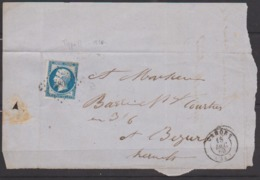 France - Fragment N° 14 Obl. 1862 PC 580 Cahors Pour Béziers - 1849-1876: Classic Period