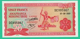 20 Francs - Burundi - 2001 - N° DC 995967 -  Neuf - - Burundi