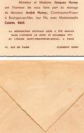 Faire-part De Mariage - Famille Habitant à Clermont Dans L ' Oise (enveloppe D ' Origine ) - Wedding