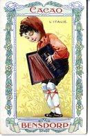 CACAO BENSDORP  L ITALIE  ENFANT JOUANT DE L ACCORDEON -  TRES BELLE ILLUSTRATION  -  CARTE PUBLICITAIRE - Publicité