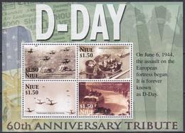 Niue 2004 Geschichte History Weltkried World War Luftwaffe Airforce Marine Navy Normandie Fallschirm, Mi. 1028-1 ** - Niue