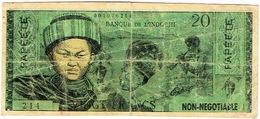 Polynesie Francaise Tahiti Papeete Banknote Billet De Banque Indochi Monnaie 20 Franc Pacifique Fake Faux Flute Pliures - Billetes