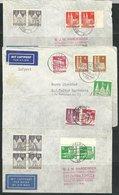 (488) 1949,  7 Bautenbriefe MiF, Luftpost Nach Argentinien/ Brasilien, Dabei 1x - Bizone