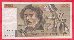 "100 Francs ""Delacroix"" 1978 --Série B.4----F/TTB+ - 1962-1997 ''Francs''"