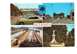 Cpm - 78 - Acheres - Centre Commercial Place Barrage Square De Verdun Péniche Citerna Tabac Supermarché Blason Ours - Acheres