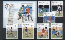 Laos 1990 World Cup Soccer Italy + MS CTO - Laos