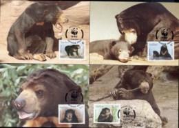 Laos 1994 WWF Sun Bear Maxicards - Laos