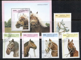 Laos 1996 Horses + MS CTO - Laos