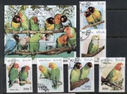 Laos 1997 Birds, Parrots + MS CTO - Laos