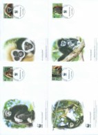 Laos 2008 WWF White Handed Gibbon 4x FDC Lot77038 - Laos