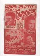 COMME UN P'TIT COQUELICOT - MOULOUDJI / LES COMPAGNONS DE LA CHANSON / HENRI DECKER / CHRISTIAN JUIN - Partitions Musicales Anciennes