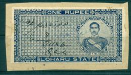 Loharu State 1940s Court Fee Ty.10 1R Blue Lot36600 - India