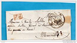 LETTRE EN PP (évéché)-départ -FREJUS 14 Dec 1840 Pour MARSEILLE - Postmark Collection (Covers)