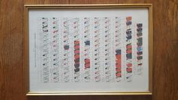 TABLEAU INFANTERIE FRANCAISE ET ETRANGERE DE 1734 A 1757 LITHOGRAPHIE AQUARELLEE ALFRED DE MARBOT MILIEU XIXe UNIFORME - Uniformes