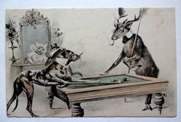 CP ANIMAUX HUMANISES  ILL. ANDERS  JEU DE BILLARD CHIEN CERF - Künstlerkarten