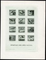 Chile 1942 Airmail Aircraft Special Sheet Printed In Green. Very Scarce. Rainbow , Columbus Ship Compass Etc - Chile