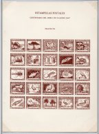 Chile 1948 Claude Gay Special Sheet In BROWN Bird Lizard Butterfly Cactus Southern Cross Penguin Fish - Chile