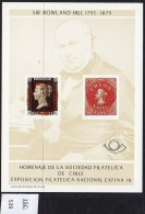 Chile 1978 Rowland Hill & Colon Columbus And Penny Black Stamp-on-stamp Special Sheet. - Chile