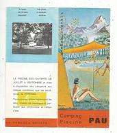Dépliant Touristique ,PAU , Camping ,piscine , 6 Pages, 2 Scans  , Frais Fr 1.45e - Dépliants Touristiques