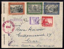 Chile Registered Censor Cover : 1946 (La) Ligua To Graz Austria 5 Pesos Rate Double British Censor - Chile
