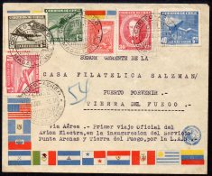 Chile Airmail Cover : 1945 First Flight Tierra Del Fuego Magellanes Cancel : LAN Electra Aircraft - Chile