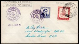 Chile Navy Warship Cover : 1956 Armada De Chile Cruccero Cruiser O'Higgins To Seattle : Special Handstamp - Chile