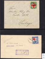 Chile 1944 Red Cross SG 350/51 On 2 Separate Commercial Covers, One Registered From Vina Del Mar - Chile