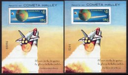 Chile 1985 Halley's Comet M/s Perf And Imperf (2) Cosmos Space Espace - Chile