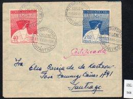 Chile 1947 Antarctic Issue On 1949 Registered Cover Cancelled Territorio Chileno Antaractico - Chile