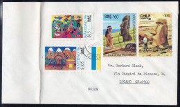 Chile 1940 Isla De Pascua Easter Island 1986 Set/2 And Christmas Navidad (2) On Cover – See Text - Chile