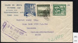 Chile 1949 Registered Letter Cover Valparaiso – Lausanne Switzerland With 1948 Claude Gay SG 382e Flower - Chile