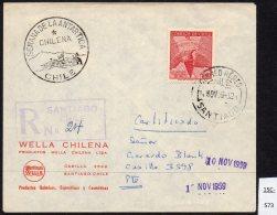 Chile 1959 Antarctic Issue Registered Cover SEMANA DE LA ANTARCTICE CHILENA Cachet – Santiago 10 NOV 1959 - Chile