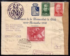 Chile 1942 University 100p On Vina Del Mar Registered Censor Cover To USA With First Day Cancel (5 Nov 1942) - Chile