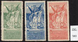 France Greece 1906 Olympics Jeux Olympiques Cinderella Etiquettes X 3: Acropolis Nude Classical Greek - Olympic Games